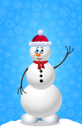 Cute cartoon snowman in Santa hat and red scarf on blue snowy background template with space for text. Illustration