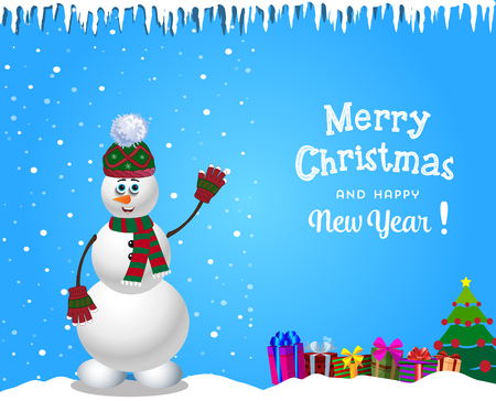 snowy hill: Christmas and new year card with cute cartoon snowman in knitted hat and striped scarf.