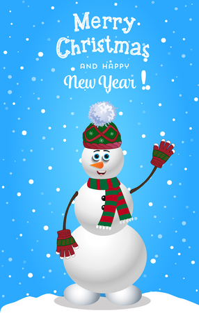 Christmas and new year card with cute cartoon snowman in knitted hat and striped scarf.