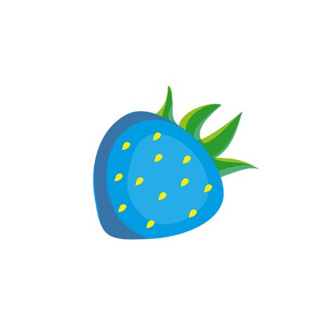 Fresa de dibujos animados azul. Foto de archivo - 89041133