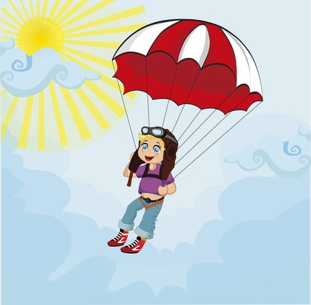 Little cute boy jumping with parachute. Illustration