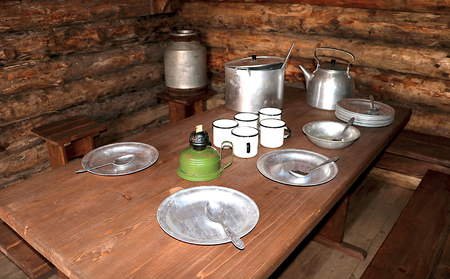 Dining room of russian partisans in the dugout of World War II. Military guerrilla kitchen in dugout interrior.