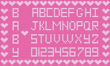 Baby fabric script for girl with cute knitted abc alphabet knitting pattern background framed with little hearts.