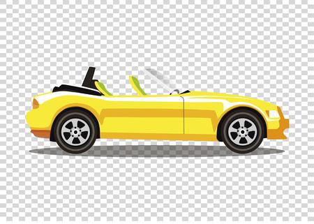 Żółty nowoczesny kreskówka kolorowy kabriolet samochód sportowy bez dachu wektor ilustracja clipart.