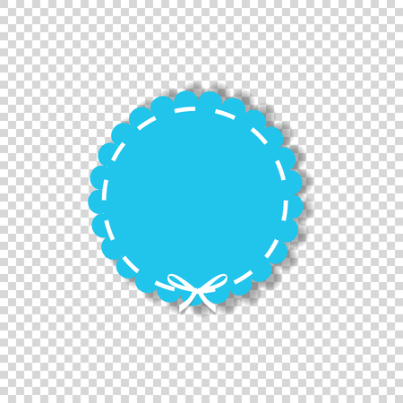 Light blue circle seal stamp wrapped with white cord. Vector icon  with copy space isolated on transparent background. Clip art.