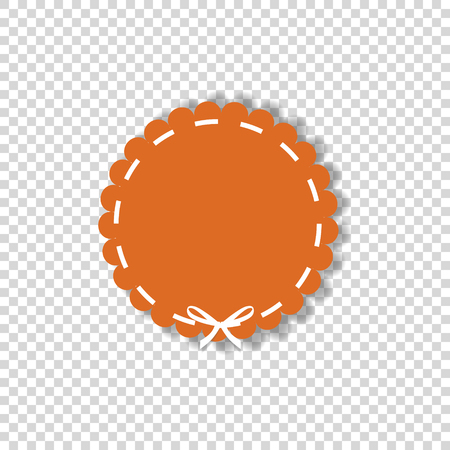 Orange circle sticker or tag wrapped with white lace. Vector icon  with empty space for text isolated on transparent background. Element for design, clip art.