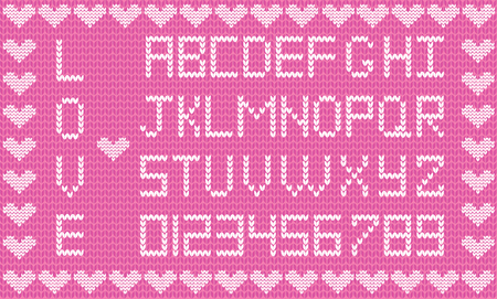 Valentines day or wedding knitting alphabet on pink fabric background framed with hearts.