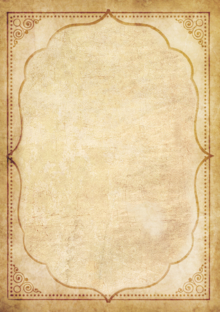 Old grungy paper with oriental ornament. Worn template with space for text.