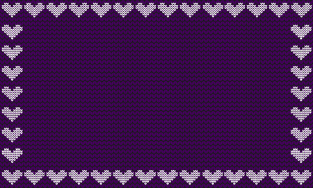 Violet fabric knitted background framed with knit hearts vector illustration template poster with space for text.