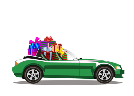 Green modern cartoon cabriolet car full of gift boxes isolated on white background. Sports car. Vector illustration. Clip art.