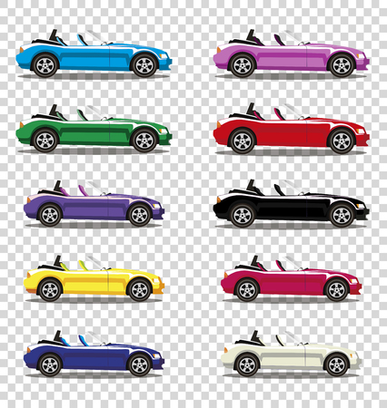 Set of modern cartoon colored cabriolet cars isolated on transparent background. Sports cars. Vector illustration. Clip art.  Illustration