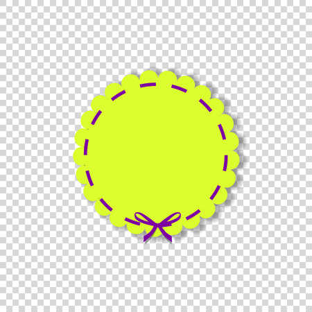Yellow round stamp with violet ribbon in paper cut out style isolated on transparent background. Vector illustration, template with space for text. Illustration