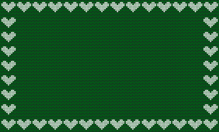 Emerald green fabric knitted background framed with knit white hearts. Vector illustration, template, poster with space for text. Illustration