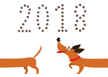 Dog, symbol of new year 2018. Cute cartoon dachshund dog following tail and number 2018 made of pawprints. Isolated dachshund logo, badger dog icon, element for new year of dog 2018 design. Vector.