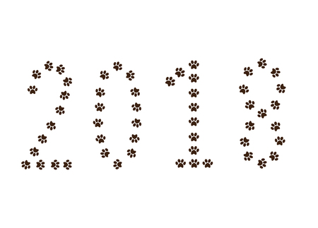 Numeral 2018 made of animal pawprints track isolated on white background. Vector illustration, symbol, clip art. Symbol of new year of the dog 2018.