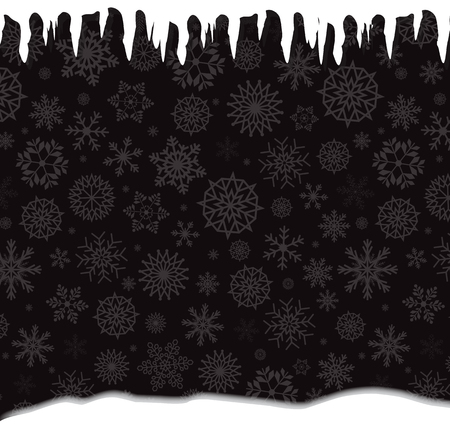 Winter template with falling silver snowflakes, icicles and snowdrift on black background. Vector illustration, banner, template.
