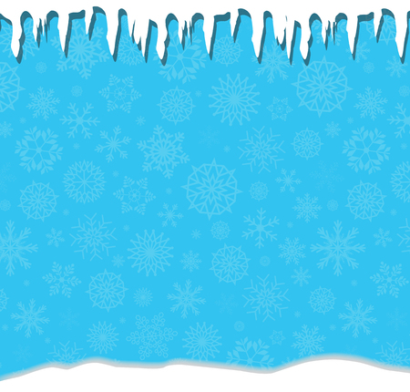 Elegant winter festive  blue background with fallen snowflakes, icicles and snowdrifts. Christmas or new year surface with space for text. Vector illustration, banner, poster.