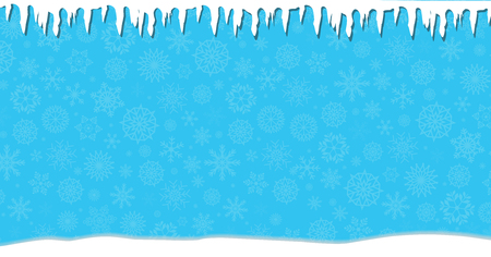 Elegant winter festive  blue banner with fallen snowflakes, icicles and snowdrifts. Christmas or new year surface with space for text. Vector illustration, banner, poster.