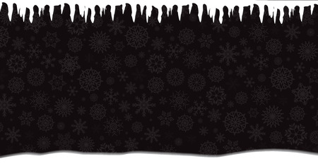 Winter banner with falling silver snowflakes, icicles and snowdrift on black background. Vector illustration, banner, template.