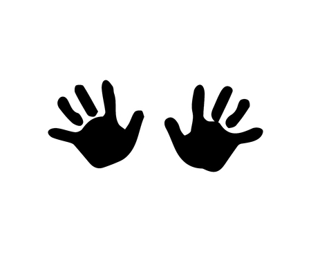 Black silhouette of baby hand prints isolated on white background. Vector illustration, icon, clip art.