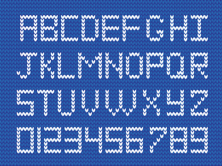 Fabric script on blue knitted background. White knitted letters and numerals. Vector illustration, signs, symbols for text creation.