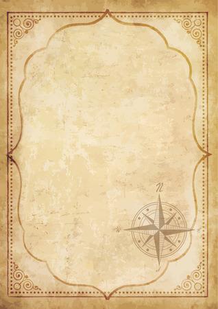 Vieux papier vintage avec signe de boussole rose des vents. Vecteur très détaillé. Modèle avec un espace pour le texte encadré avec un motif antique oriental. Concept de carte de pirate. Banque d'images - 90835814