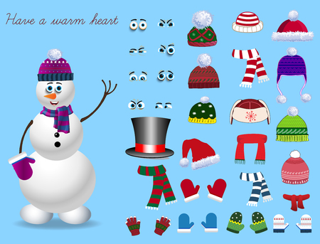 Christmas and new year set for creating snowman. Eyes, emotions, hats, scarves, mittens. Cute winter clothes for snowman. Vector illustration, template Ilustrace