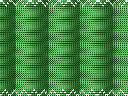 Light lime green fabric knitted background with white zig zag border. Vector illustration, template, poster for design with space for text.