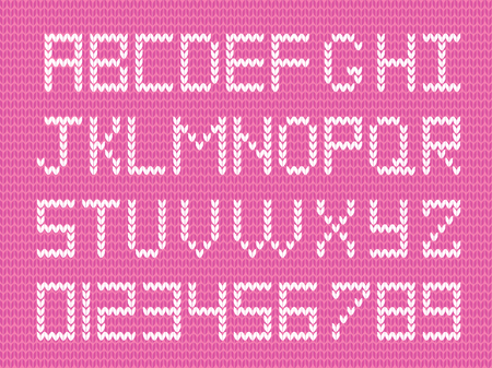 Baby fabric script for girl. Cute knitted abc alphabet, knitting pattern, girl pink fabric background framed with little hearts. Useful for cards, invitations, design.
