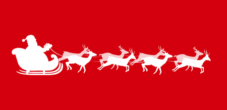 Vector illustration of Santa Claus riding  a sleigh with harness full of gifts, pulled by eight reindeer, white silhouette of Santa isolated on red background, vector illustration, icon, clip art.