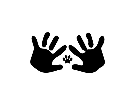 Animal pawprint inside of the frame made of baby handprints. Black and white vector illustration, logo, icon.