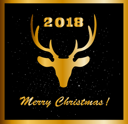 Elegant Merry Christmas card with golden raindeer head and numeral 2018 between deer horns on black sparkling background. Vector illustration, greeting card.  Illustration