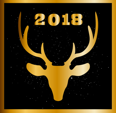 Elegant Christmas or New year card with golden raindeer head and numeral 2018 between deer horns on black sparkling background. Vector illustration, greeting card.