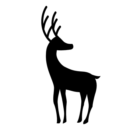 Black silhouette of standing reindeer isolated on white background. Vector illustration, icon, sign, symbol of deer.  Illustration