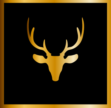 Golden silhouette of reindeer head with big horns isolated on black background framed with the golden border. Vector illustration, icon, clip art, sign, symbol of deer.  Illustration