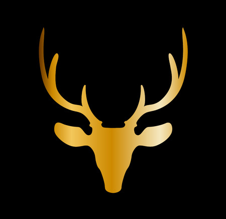 Golden silhouette of reindeer head with big horns isolated on black background. Vector illustration, icon, clip art, sign, symbol of deer.