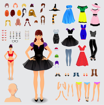 Big set for creation unique female character. Full body, legs, arms,face, eyes, eyebrows, hairstyle, lips, clothes, shoes, accessories isolated on white background. Vector illustration, clip art.
