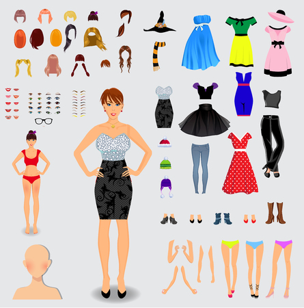 Big set for creation unique lady character. Full body, legs, arms,face, eyes, eyebrows, hairstyle, lips, clothes, shoes, accessories isolated on white background. Vector illustration, clip art.