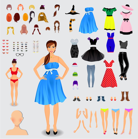 Gran conjunto para la creación del personaje único de niña. Todo el cuerpo, piernas, brazos, cara, ojos, cejas, peinado, labios, ropa, zapatos, accesorios aislados sobre fondo blanco. Ilustración del vector, clip art.