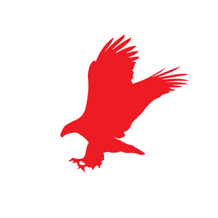 Red Silhouette Of Eagle Isolated On Black Background Vector
