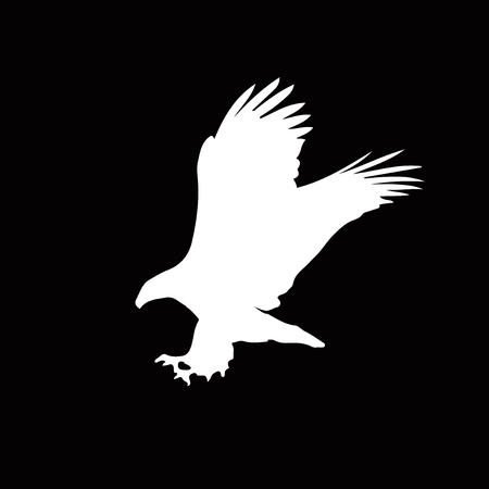 White silhouette of eagle  isolated on black background. Vector illustration, clip art, icon, sign, symbol of eagle for design.  Illustration