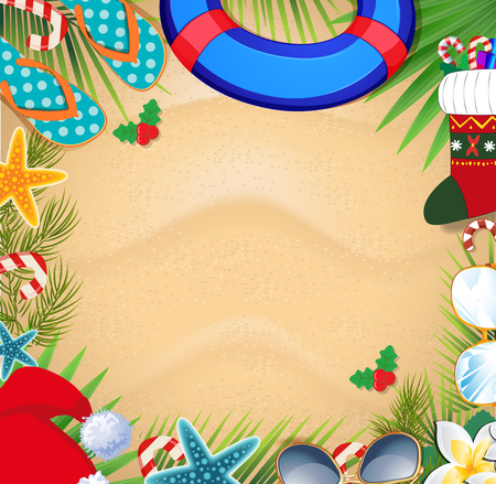 Merry christmas and happy new year frame on a warm climate design background. Summer vacation accessories and palm leaves with santa hat, on sand background. Christmas beach frame with space for text Ilustração