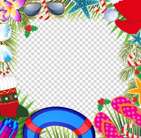 Prettige kerstdagen en een gelukkig nieuwjaarsgrens in een warme klimaatontwerpstijl. Zomervakantie accessoires en palmbladen met kerstmuts, op transparante achtergrond. Kerst strand frame met kopie ruimte