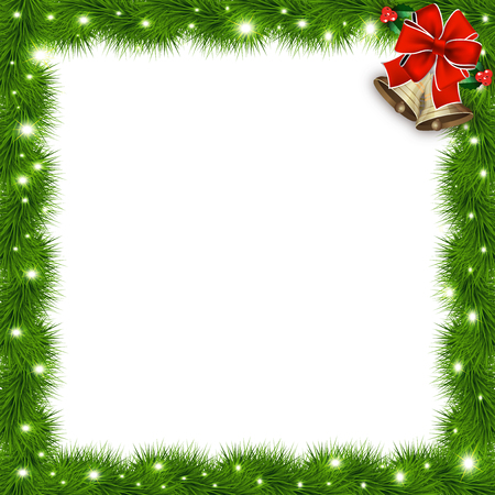 Template with vector christmas tree branches and space for text. Realistic fir-tree border, frame with red bow isolated on white. Great background for christmas cards, banners, flyers, party posters.