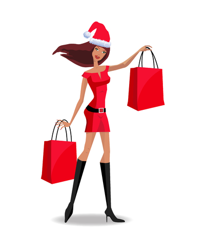 Cute santa girl character in red dress and santa hat holding red shopping bags isolated on white background. Vectro illustration, clip art. Christmas or new year shopping concept with woman.  Illustration