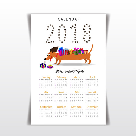 Creative calendar with cute cartoon dachshund with gifts on the back watching on bone inside of gift box. Flat colored vector illustration, template,  year of the dog calendar 2018.