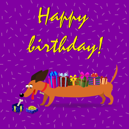 Cute cartoon long dachshund with  gift boxes upon the back watching on gift box with a bone inside on violet confetti background. Vector illustration, happy birthday greeting card.  Ilustracja