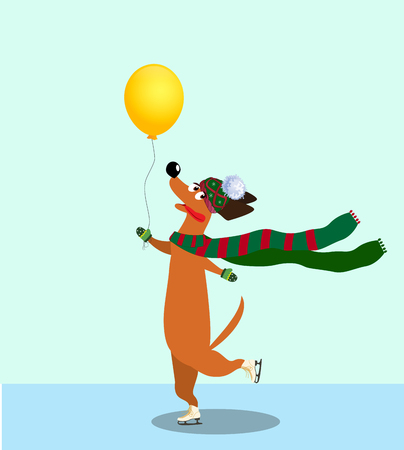 Cute cartoon dachshund dressed in knitted scarf, mittens and hat skating on hind legs along the ice rink holding yellow balloon in hand. Vector illustration, clip art, symbol of 2018 new year.