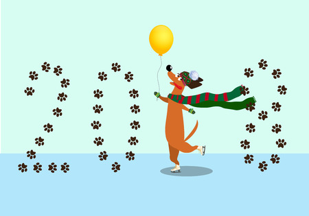 Cute cartoon dachshund dressed in knitted scarf, mittens and hat skating on hind legs along the ice rink with  balloon in hand. Vector clip art, symbol of 2018 new year. Element for calendar design.