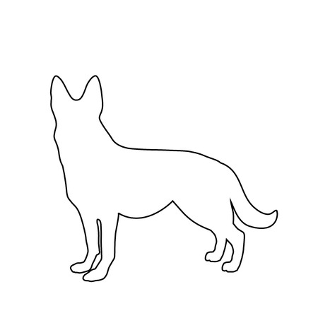 Black outline silhouette of german shepherd dog standig sideway isolated on white background. Vector illustration, icon, clip art. Symbol of 2018 new year.